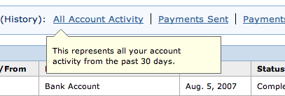 Mouseover on Paypal