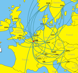 Flight Map Europe With Great Circle Distance