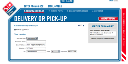 Dominos Pizza Step 1