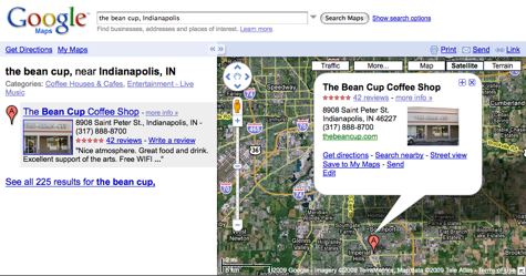The Bean Cup Google Map