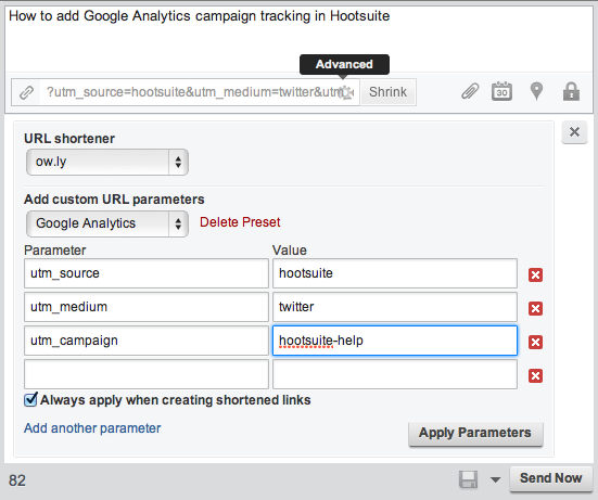 hootsuite campaign tracking url