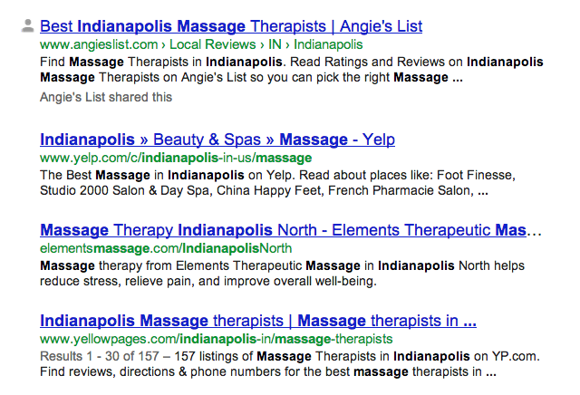 Massage Indianapolis Search Results
