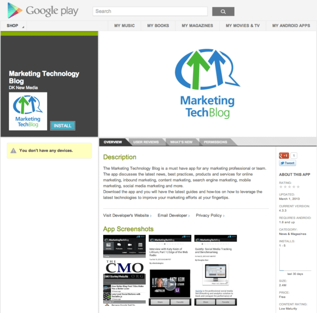 Marketing Tech Blog on Android