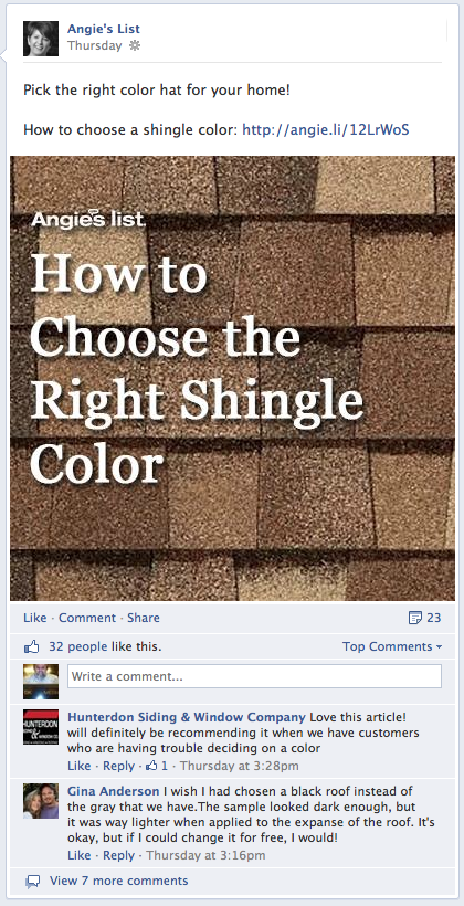 angies list shingles