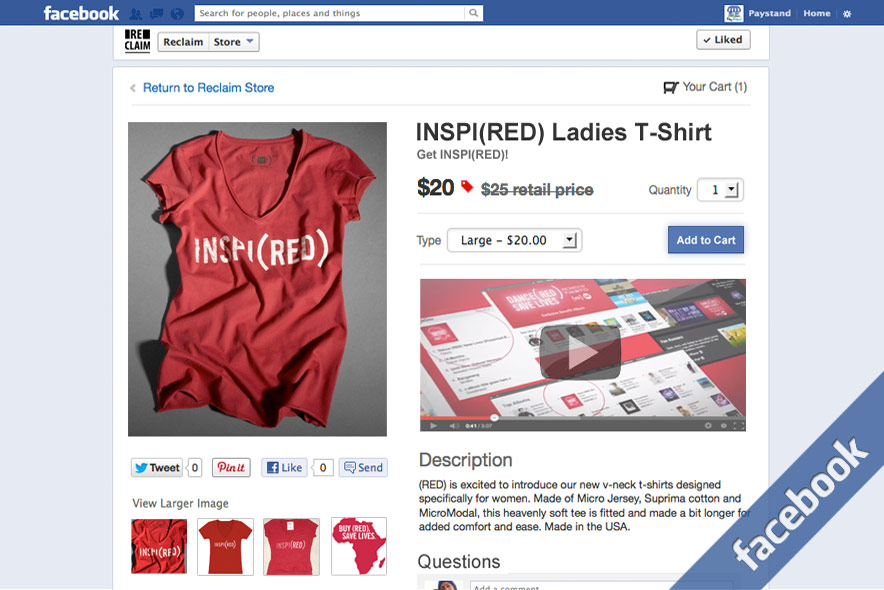 a5 Facebook product page