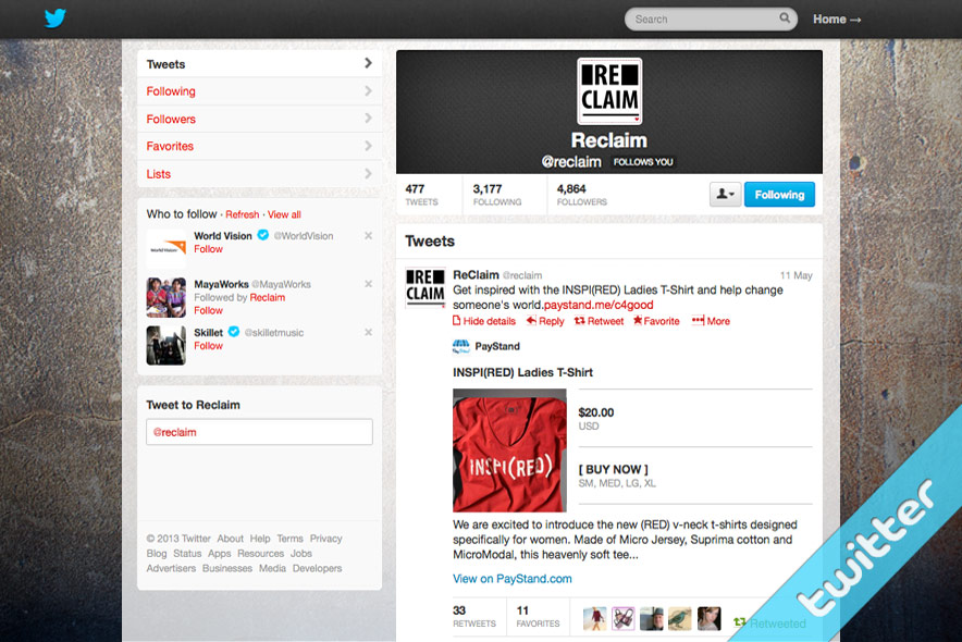a7 Twitter product page