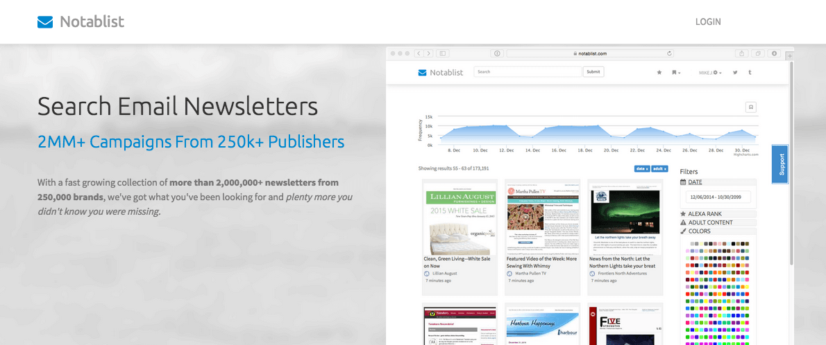 Notablist: Design Inspiration and Competitive Research for Email Marketers
