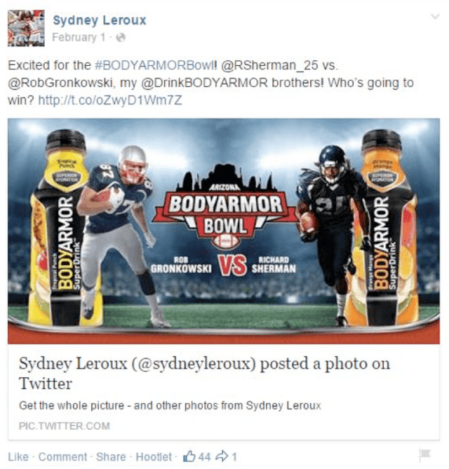 Sydney Leroux uses her twitter and Facebook to promote Body Armor sports drink.
