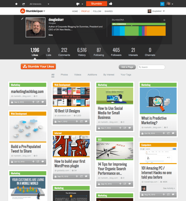 StumbleUpon Profile for Douglas Karr
