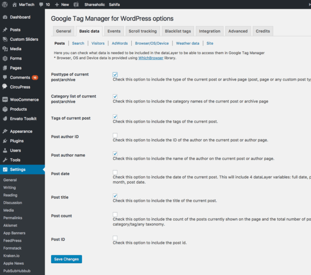 Google Tag Manager WordPress dataLayer