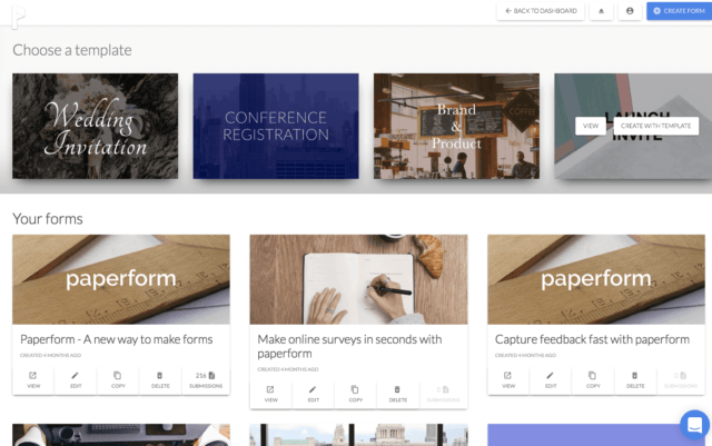 Paperform Form Templates