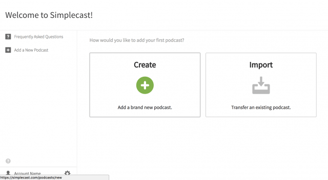 simplecast create podcast