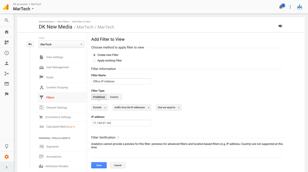 Google Analytics Exclude IP Address