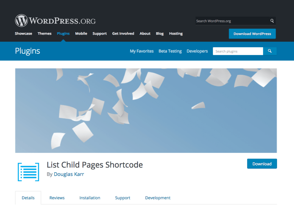WordPress Plugin for Listing Child Pages