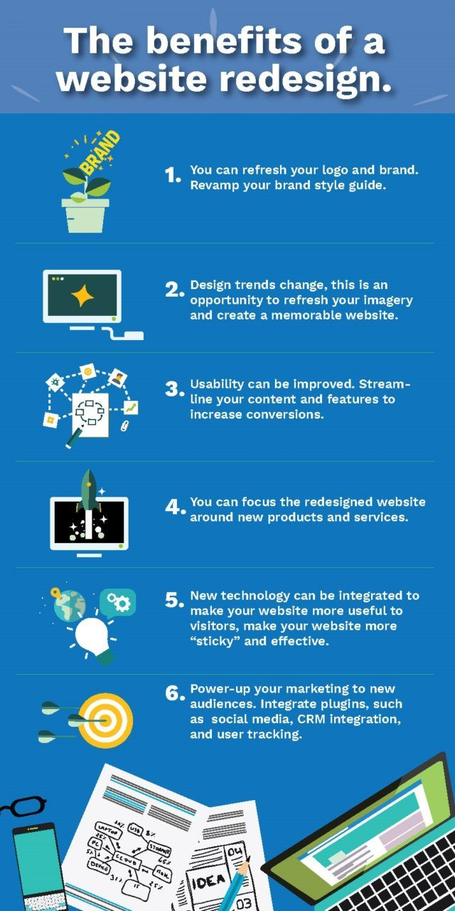 benefits of a website redesign infographic