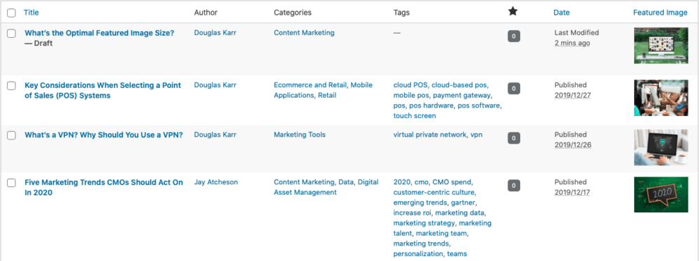 post list admin featured image