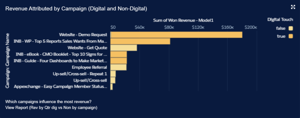 Revenue Attributed by Campaign (Digital and Non-Digital)