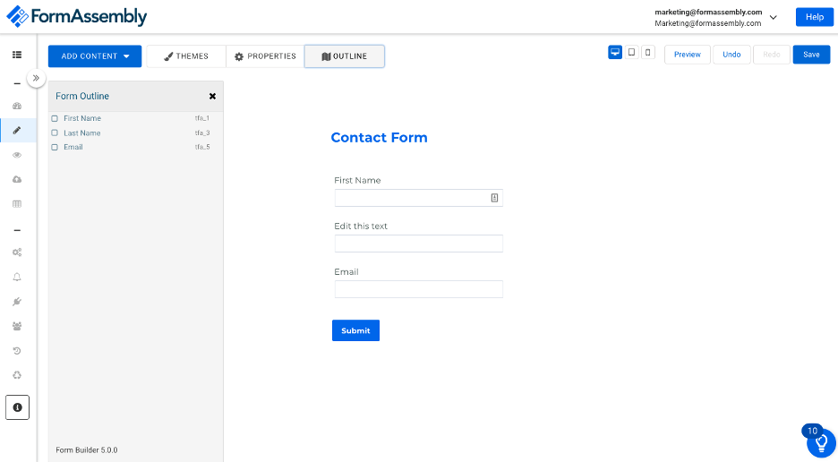 Contact Form with Form Assembly