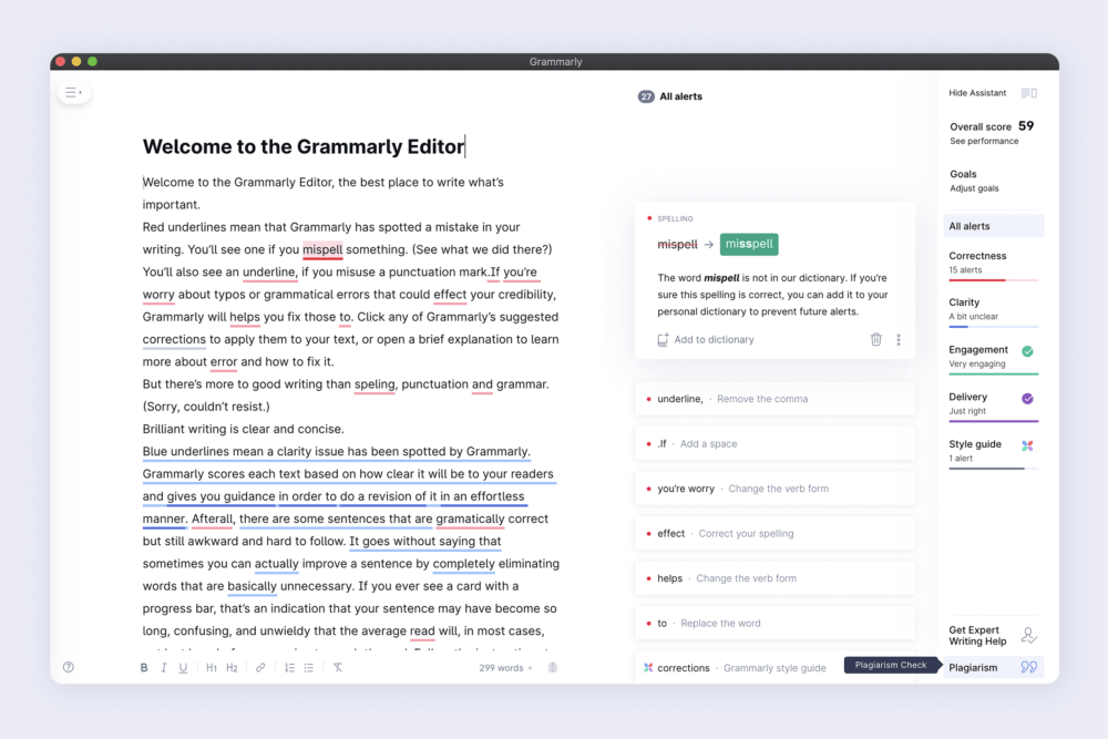 Grammarly App for spelling check, grammar check, plagiarism check and more