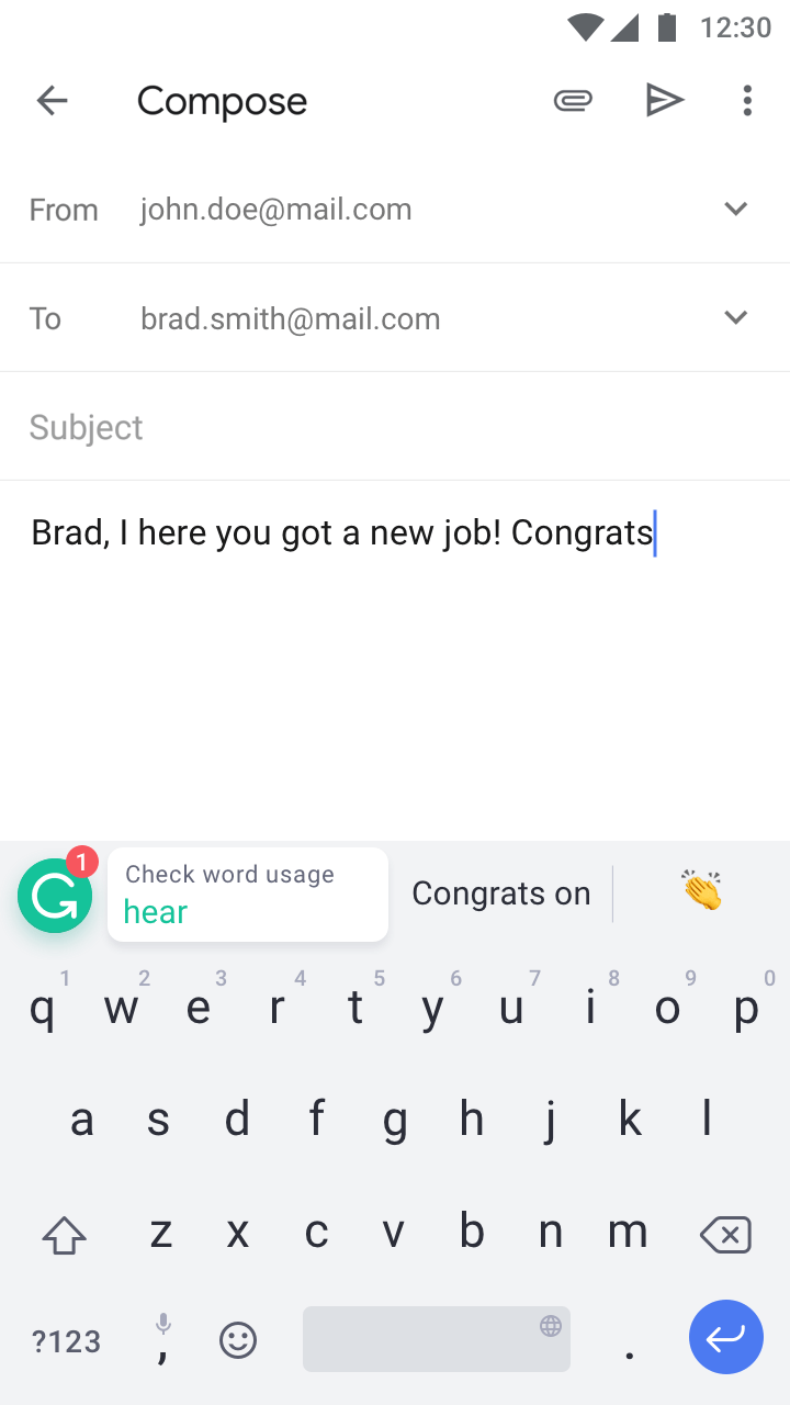 The Grammarly Keyboard Android