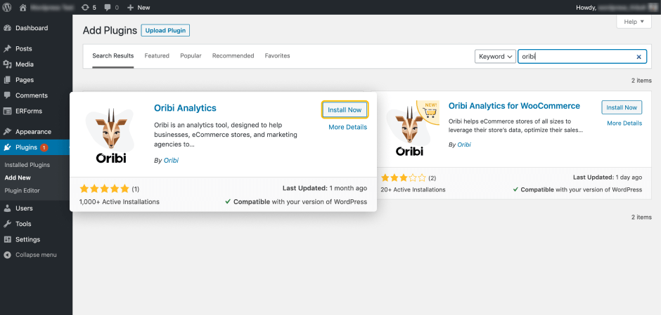 Oribi WordPress and WooCommerce Analytics Plugin