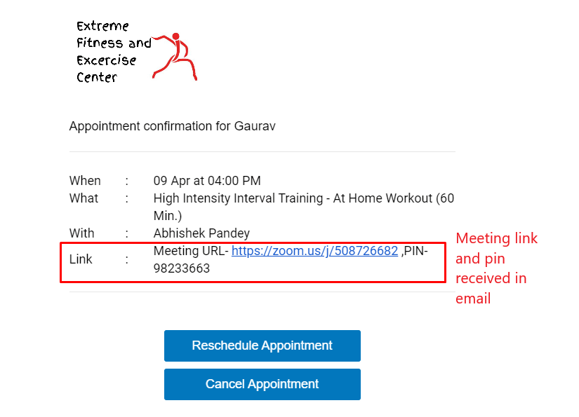 Zoom Appointment Booking and Confirmation