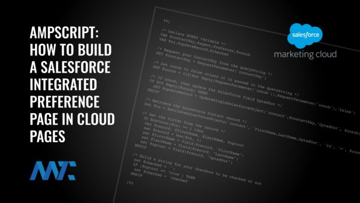 AMPscript Salesforce-Integrated Marketing Cloud Preference Page Code