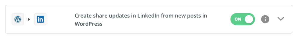 wordpress linkedin zap
