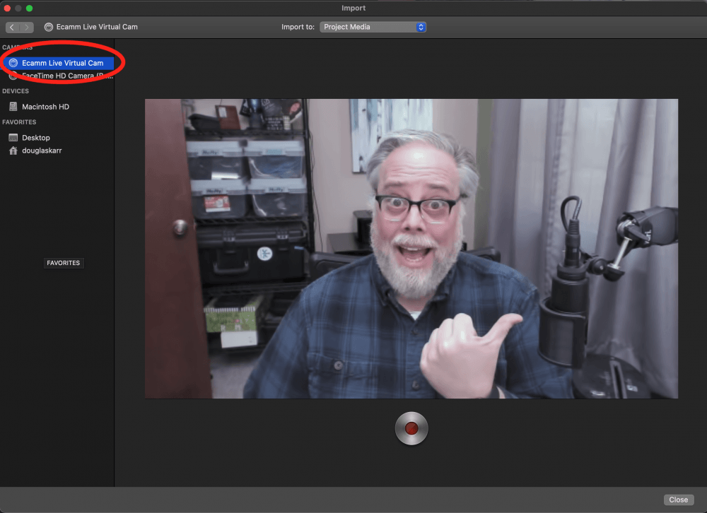Ecamm Live Virtual Camera Source in iMovie
