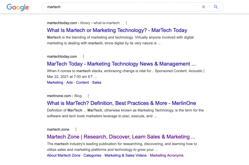 martech search result