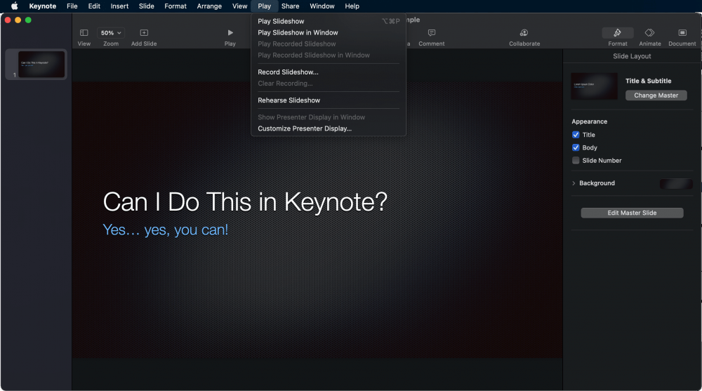keynote play in window