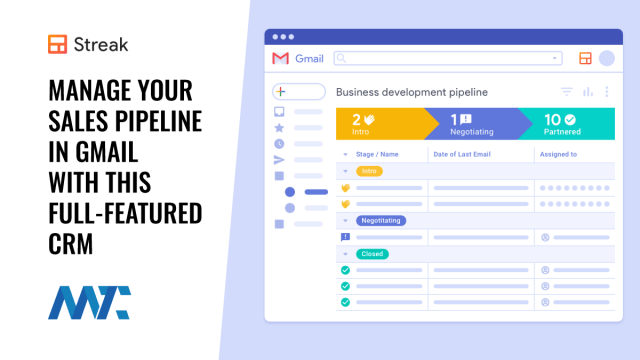Streak: Gmail-Integrated CRM For Sales Pipelines