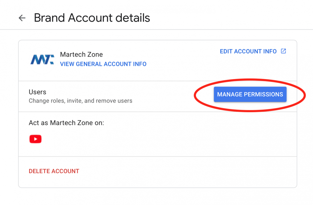Manage Brand Permissions in Google for YouTube