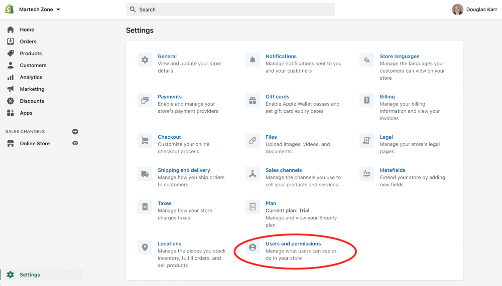 Shopify Dashboard User and Permissions Settings