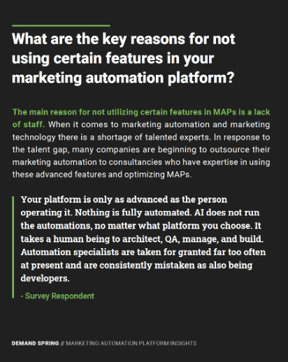 What are the key reasons for not using certain features in your marketing automation platform?